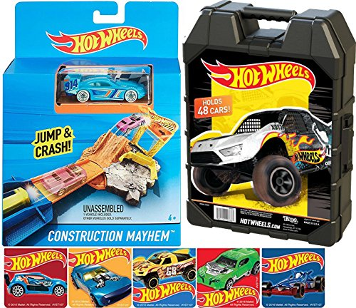 Hot Wheels Case Saver & Jump and Crash Construction Mayhem Pack Mini Playset and bonus car & Bonus Racing Car Stickers Pack