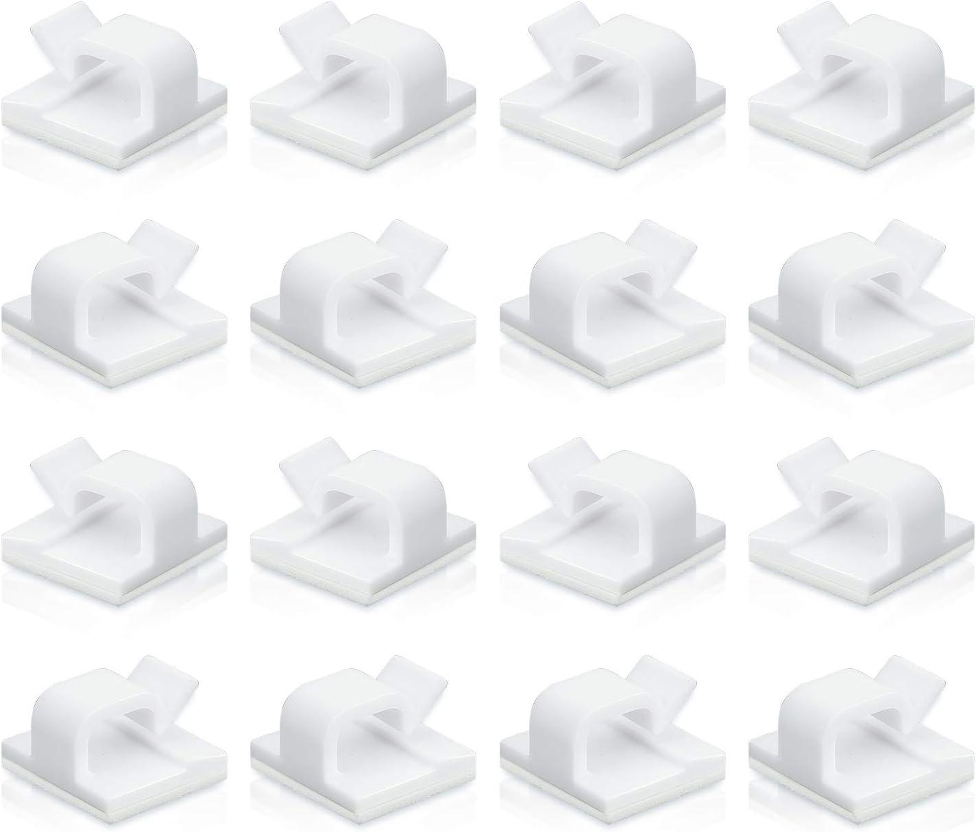 Whaline Clips de c/âble adh/ésifs crampe de c/âble gestion des clips de fil support de cordon blanc organisateur de c/âbles en plastique