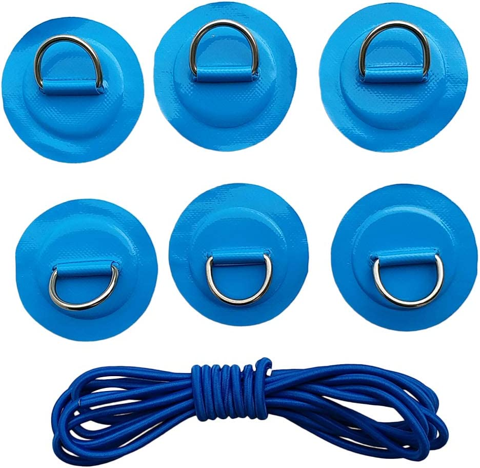 6pcs Surfboard Dinghy Boat Pvc Patch Stainless Steel D Ring Deck Rigging Sup