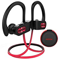 Auriculares Bluetooth Deportivos, Mpow【Impermeables IPX7】Auriculares Bluetooth 4.1 In-ear Cascos Inalámbricos , Auricular Inalámbrico Running Deporte Correr con Micrófono, Cancelación de Ruido CVC 6.0 para iPhone 8 / 8Plus, X, 7, 7 Plus, 6s, 6s Plus, 6, 6 Plus, Samsung, Huawei, Sony ect (Negro/Rojo con EVA Bolsa)