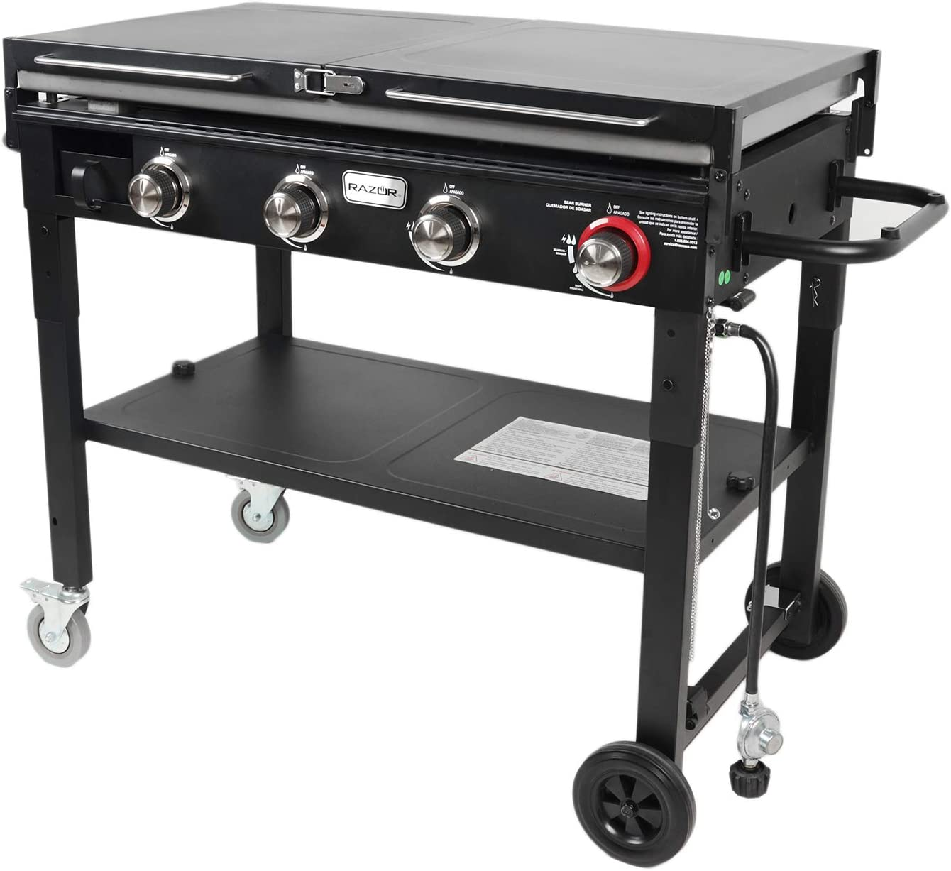 Black Razor Griddle GGC1643M Outdoor Steel 4 Burner Propane Gas Grill Griddle w// Wheels /& Top Cover Lid Folding Shelves for BBQ Cooking