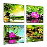 Bathroom Artwork Canvas Prints Zen Art Wall Decor - Spa Massage Treatment Painting Picture Print on Canvas Framed Ready to Hang - Red Orchid Frangipani Bamboo Waterlily Black Stone in Garden - 4 Panel Giclee Artwork