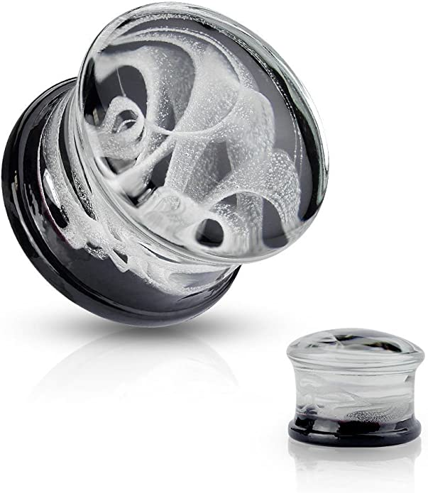Sold as a Pair Swirl Pyrex Glass Saddle Plug Blue