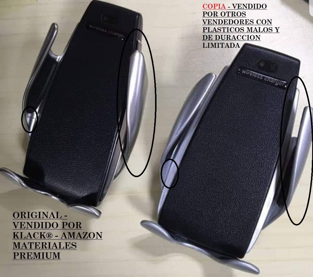 Klack Soporte para Coche con Rotaci/ón y Carga Inalambrica con Apertura y Cierre Automatico USB Compatible Universal