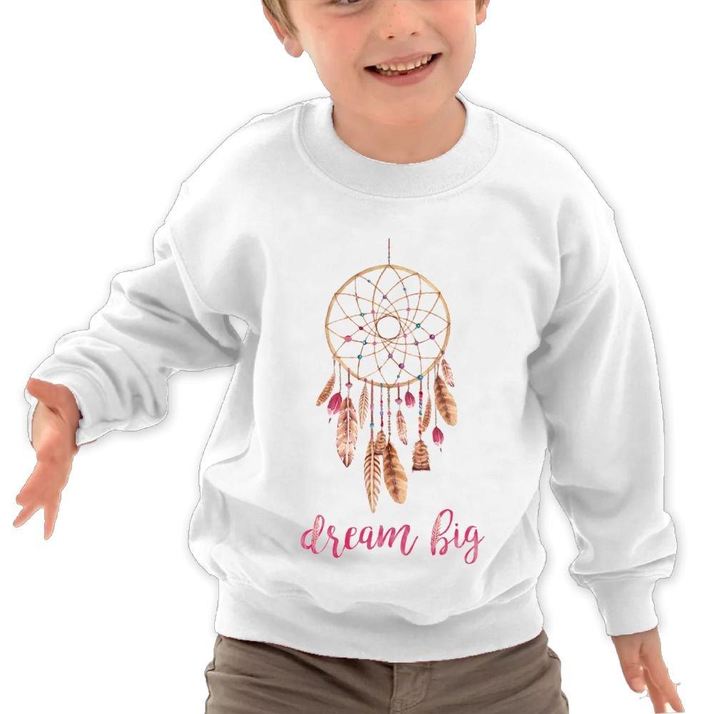 Anutknow Dream Catcher Dream Big Feather Quote Childrens Round Neck Soft Hoodies Sweatshirt