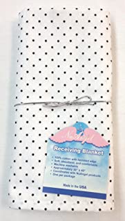 product image for NuAngel Receiving Blanket - 100% Cotton Flannel (White with Black Dots) Made in USA
