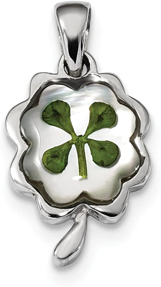 925 Sterling Silver Platinum Plated Leaf Clover Epoxy and Shell Pendant Charm 28mm x 14mm