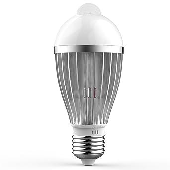 Bombilla Sensor, QPAU Bombillas LED E27 5W Luz con Sensor de Movimiento Blanca Cálida