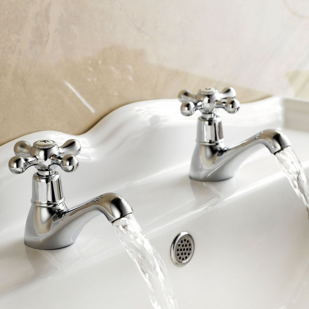 Viscount Traditional Bath Taps (Pair) Chrome: Amazon.co.uk ...