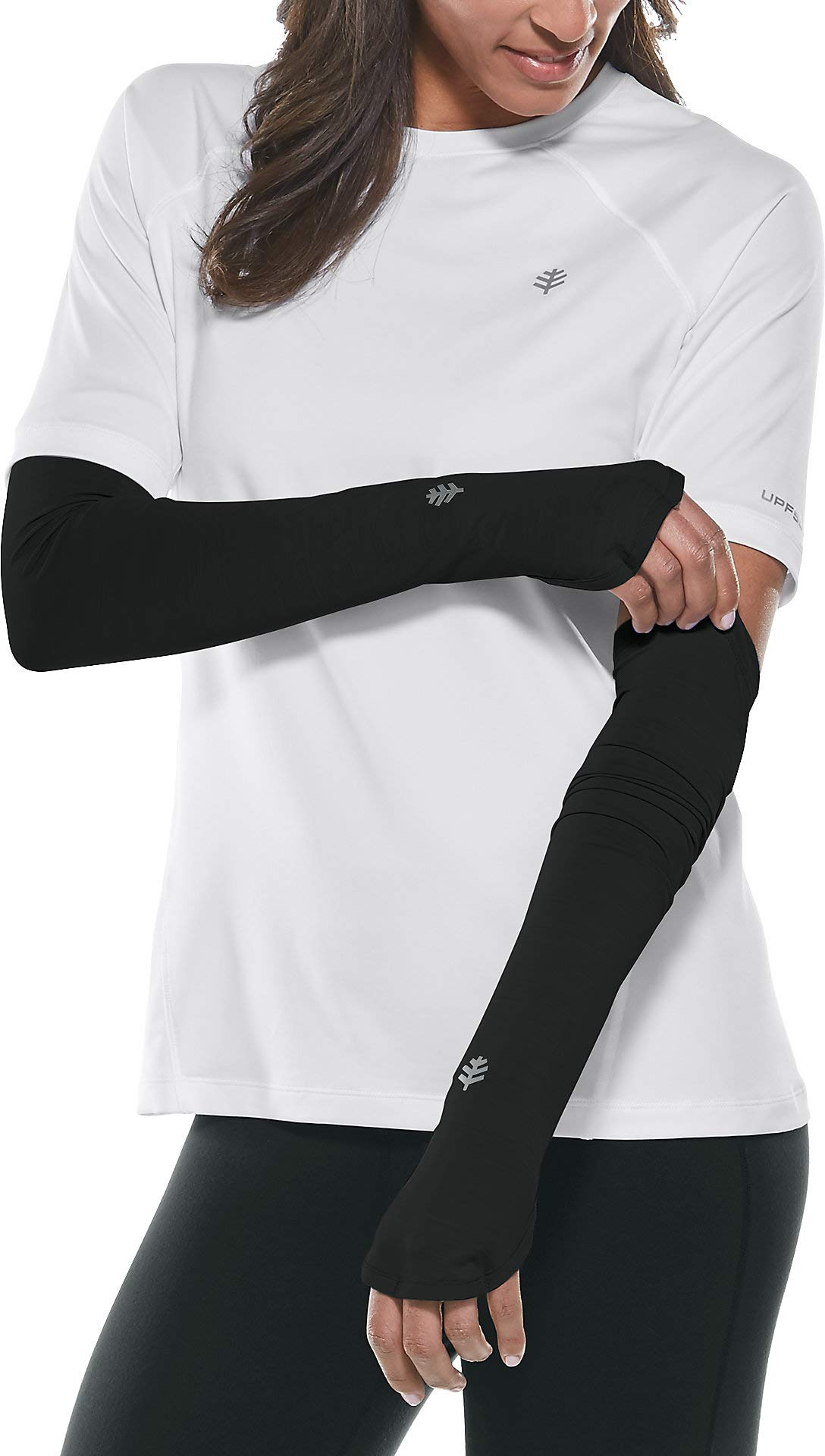 Coolibar UPF 50+ Women's Performance Sleeves - Sun Protective (Large/X-Large- Black) by Coolibar