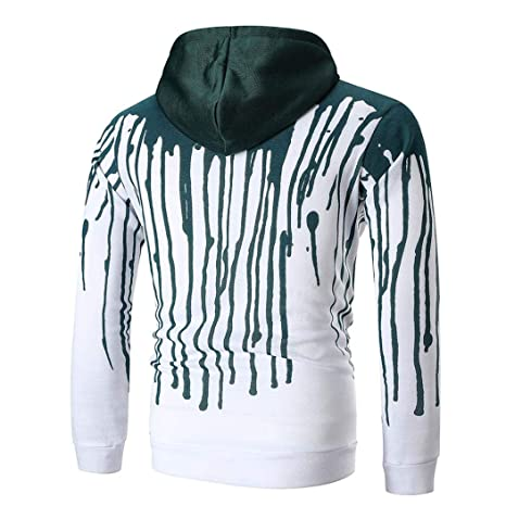 Limsea Mens Long Sleeve Printed Hooded Sweatshirt Top Outwear Blouse at Amazon Mens Clothing store: