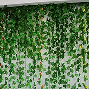 Artificial Hanging Plant Green Leaves Ivy Garland Wall Decoration Silk Foliage Wedding Vines 91