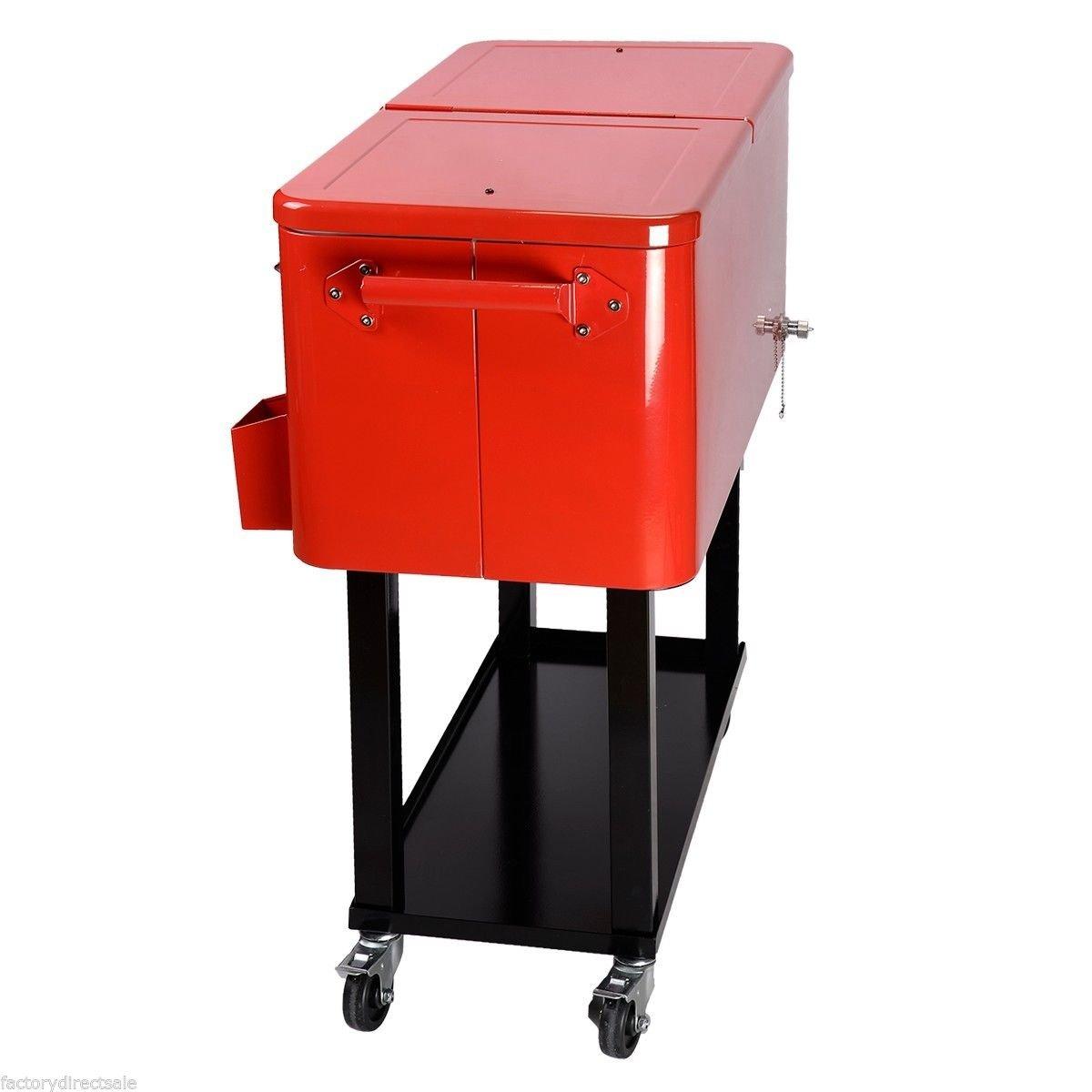 Amazon.com : 80 Quart Cooler Beer Cart Outdoor Entertaining Rolling Party  Steel Bar Bistro : Garden U0026 Outdoor