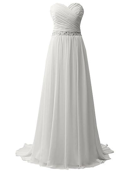 bc1b113bcc5 JAEDEN Strapless Beach Wedding Dresses for Birde Simple Chiffon Bridal Gown  Pleat Ivory US2