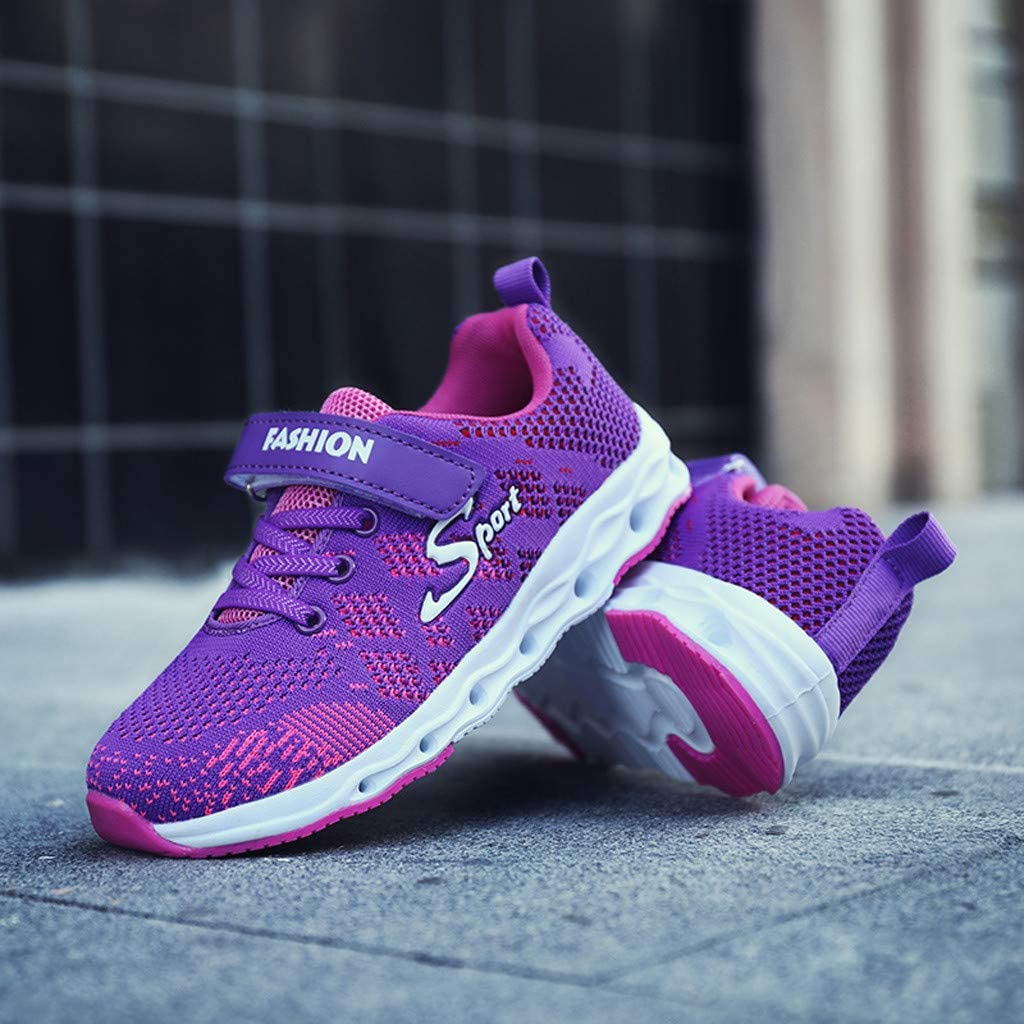 TIANRUN Kids Slip-On Sneaker Boys Girls Breathable Lightweight Tennis Athletic Running Shoes