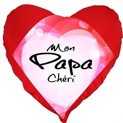Cojín con forma de corazón, «Mon papa chéri»: Amazon.es: Hogar