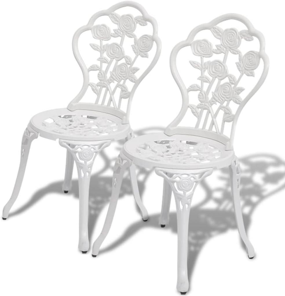Tidyard- Sillas de jardín bistró 2 Unidades Aluminio Fundido Blanco 41 x 49 x 81,5 cm(Anchura x Profundidad x Altura)