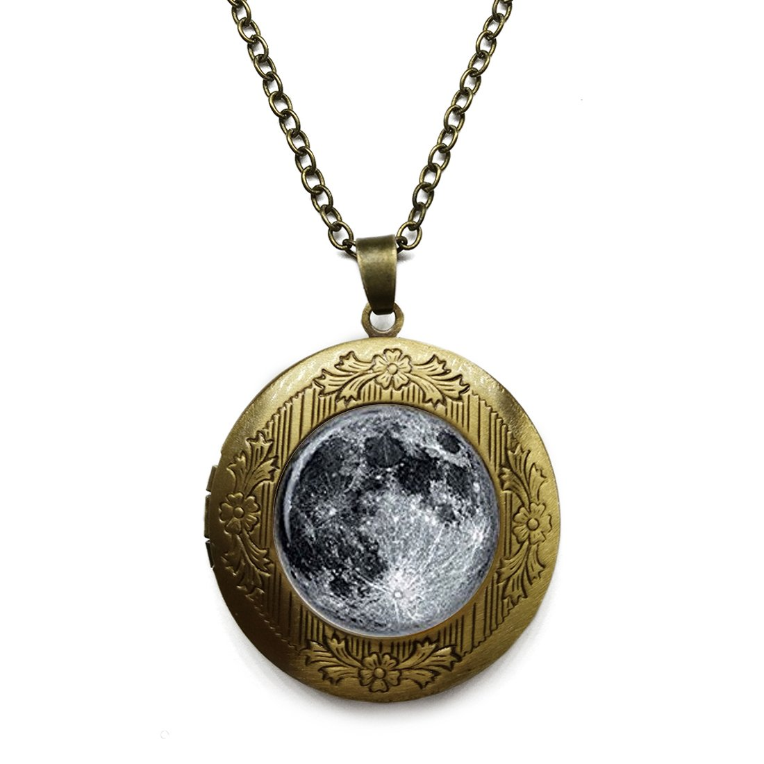 Vintage Bronze Tone Locket Picture Pendant Necklace Earth And Moon Included Free Brass Chain Gifts Personalized LooPoP CXC0622LooP-KF-LSZBS-0081