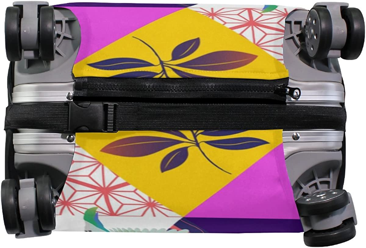 Elastic Travel Luggage Cover Tropical Palm Leaves Parrot Toucan Suitcase Protector for 18-20 Inch Luggage