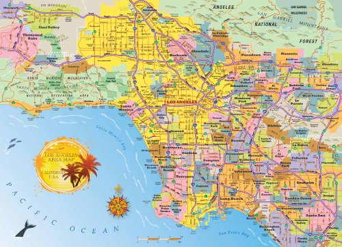 Los Angeles Area Map Jigsaw Puzzle - 1000 Piece - Map of the LA Metro Area with Highly Detailed & Accurate Cartography for Kids & Adults by Hennessy Puzzles - - Anaheim Disneyland Map California