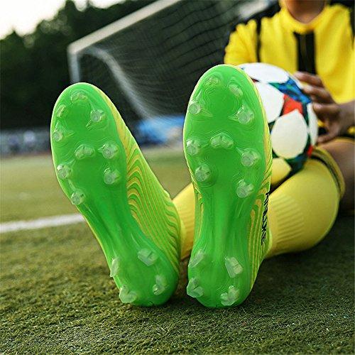 Scurtain Giovanili E Mens Alte Scarpe Da Calcio Alte Scarpe Da Calcio Tacchetti Sportivi Da Allenamento Outdoor Giallo