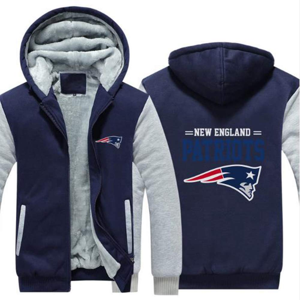 MMQQL Veste Hoodies NFL Hommes New England Patriots Fan Thicken Pull Casual Jersey Sweat Polaire