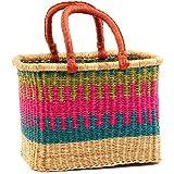 Fair Trade Ghana Bolga African Rectangular ''Tropical Hues'' Two Handle Basket 17-18'' Across, #58128L