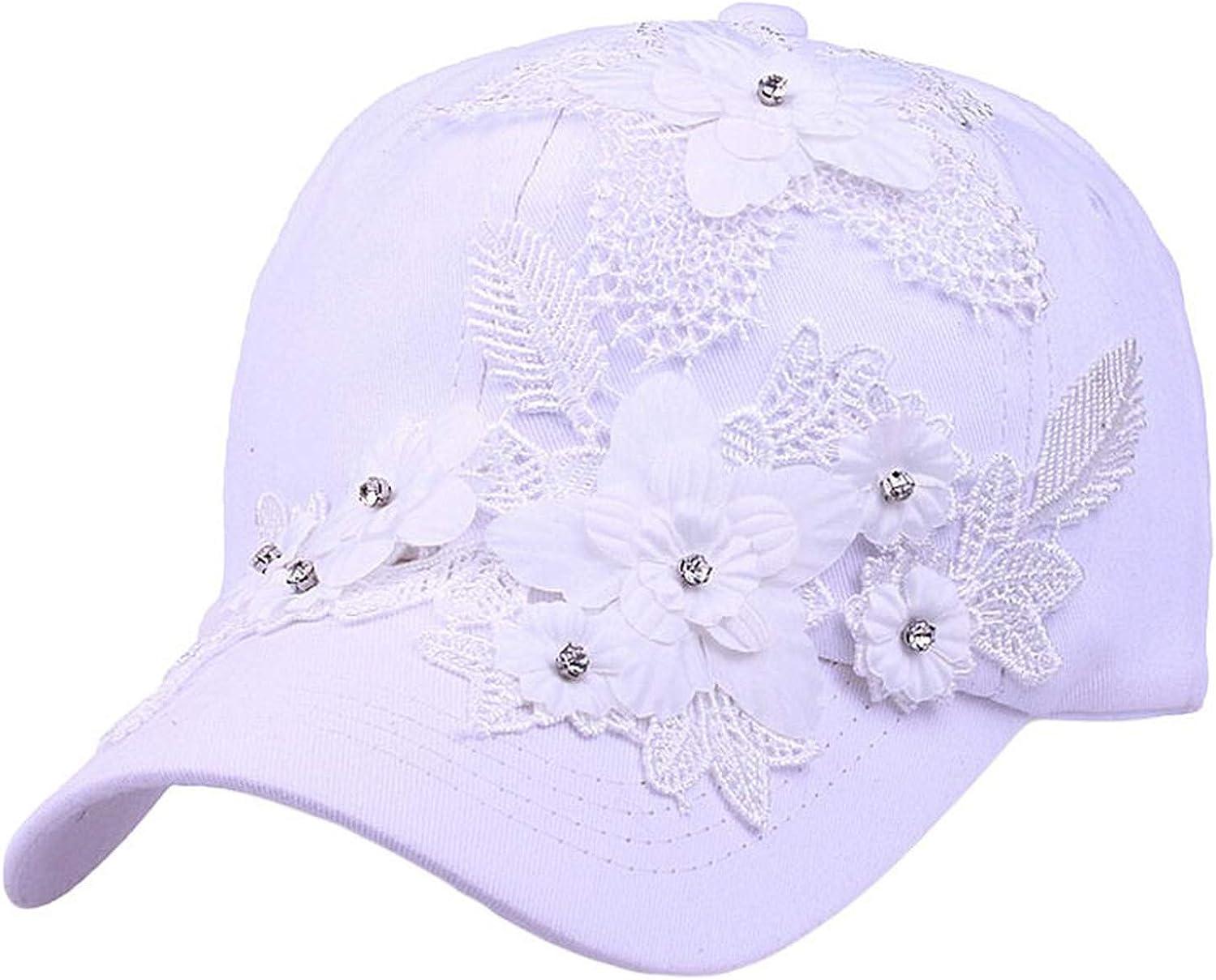 Womens Flower with Lace Denim Baseball Cap Adjustable Rhinestone Solid Cap Outdoor Sports Vintage Sun hat