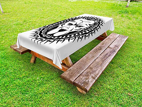 Ambesonne Pitbull Outdoor Tablecloth, Abstract Illustration Portrait of Aggressive Fighting Dog on Spiky Round Motif, Decorative Washable Picnic Table Cloth, 58 X 84 Inches, Black and White ()