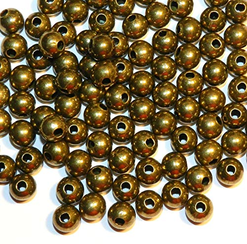 (Pendant Jewelry Making Antiqued Brass 8mm Round Steel Metal Spacer Beads 100pc)