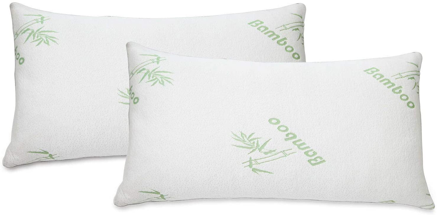 2 PACK Bamboo Pillow Memory Foam Hypoallergenic Cool Comfort NEW