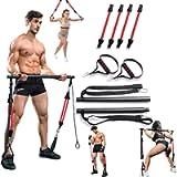 VWMYQ 60-180LBS Adjustable Pilates Toning Bar Kit, with Anti-Break Resistance Bands, Door Anchor, Full Body Dynamic…