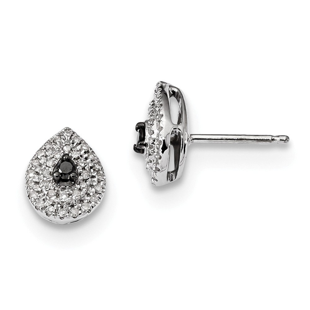 Sterling Silver Black and White Diamond Post Earrings