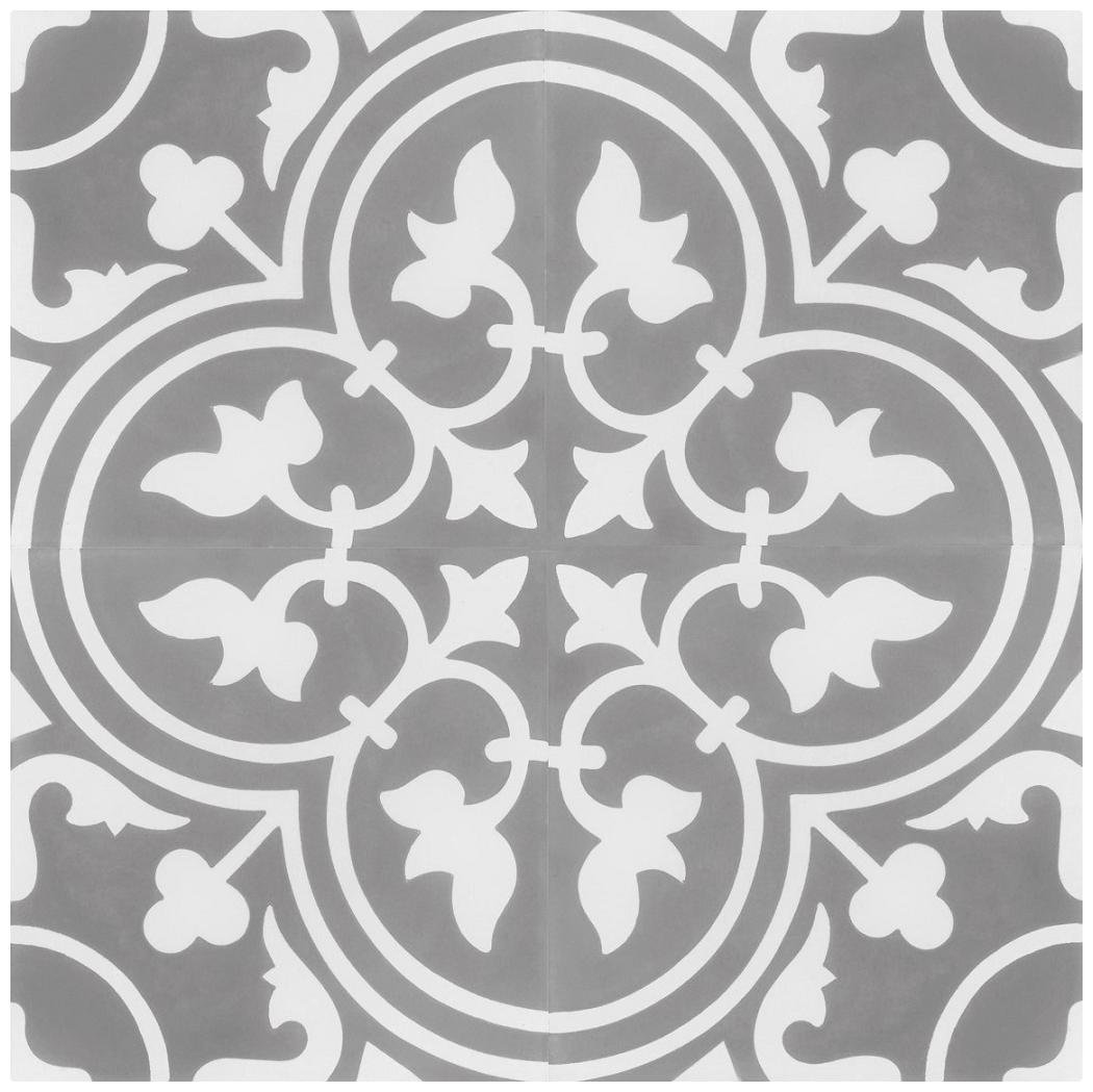 Rustico Tile and Stone RTS15 Roseton D Cement Tile Pack of 13, 8''x 8, Gray/White by Rustico Tile and Stone
