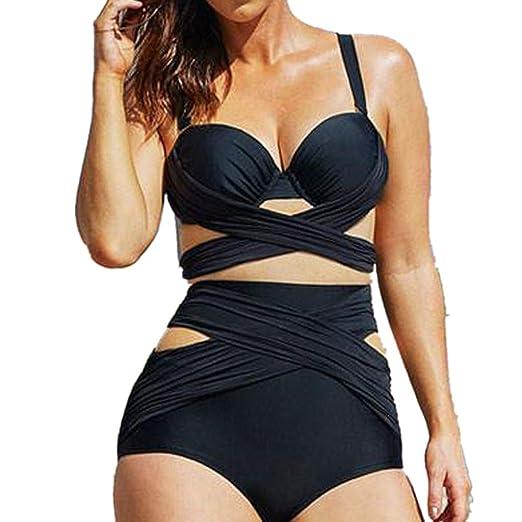 adbb340bd2a Amazon.com: Women's Plus Size Bikini Two Piece Crisscross Bandage Push Up  Padded High Waisted Bathing Swimsuits Set: Clothing