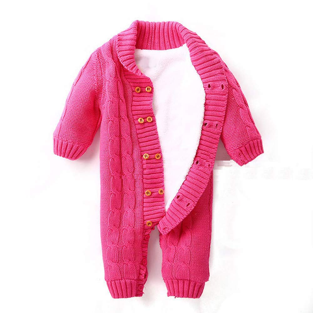 BFYOU Newborns Baby Button Rompers Lapel Knitted Thickened Sweater Jumpsuit HOT/70 by BFYOU_ Boy Clothing