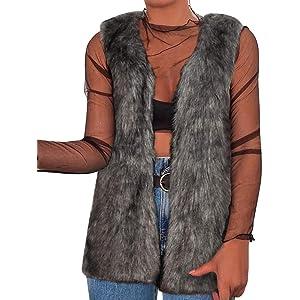 Womens Faux Fur Sleeveless Vest Coats Ladies Winter Warm Outwear Waistcoat Gilet