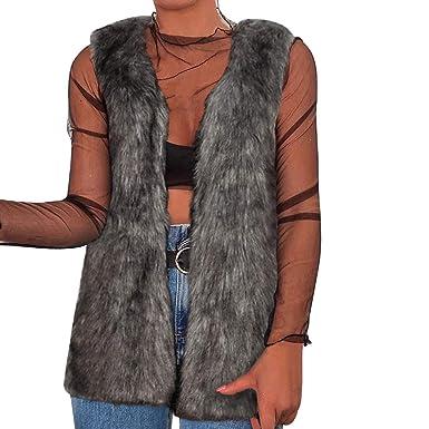 795382aa588db vpass Women Ladies Faux Fur Sleeveless Vest Loose Cardigan Quilted Winter  Warm Waistcoat Jacket Gilet Shrug Slim Fit Coat Outwear: Amazon.co.uk:  Clothing