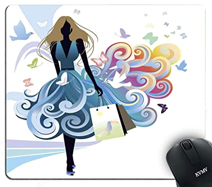 9ca009ffb07fa Amazon.com : Gaming Mouse Pads Young Woman Silhouette with Shopping ...