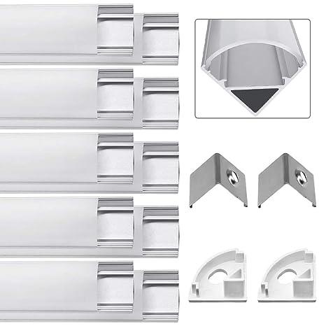 Jirvyuk 10 Pack 0.5M/ 1.64 ft Perfil de Aluminio LED para Luces de Tira