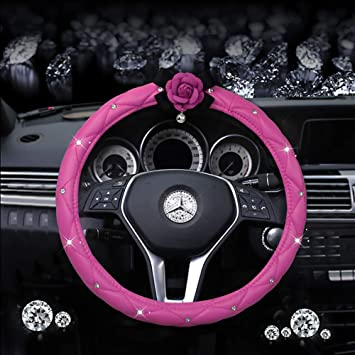 Pink Crystal Flowers Bling Car Accessories Interior Decoration for Girls Women