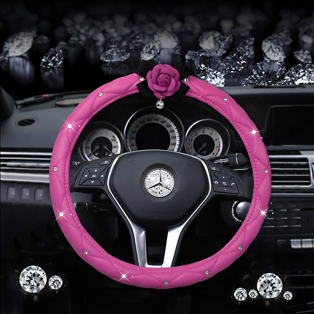 eing Fashion Auto Car Steering Wheel Covers with Crystal Rhinestone & Camellia Flower,Car Interior Accessories for Girls Women Ladies - Pink&Rose Red Flower by eing