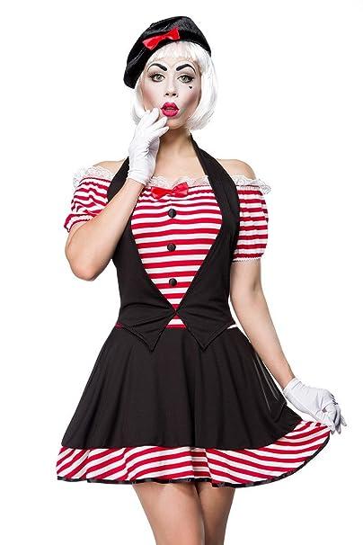 Disfraz de disfraz Pantomima by Mask Paradise con toques Recorte con punta angesetzter - Mini vestido con puffärmelchen - Set: Vestido, gorro, ...