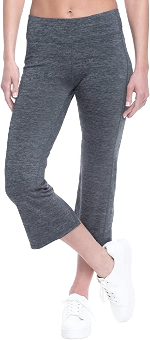 261b7403ee Gaiam Women's Om Straight Leg Yoga Capri Performance Compression Athletic  Pants - Charcoal Heather, Extra