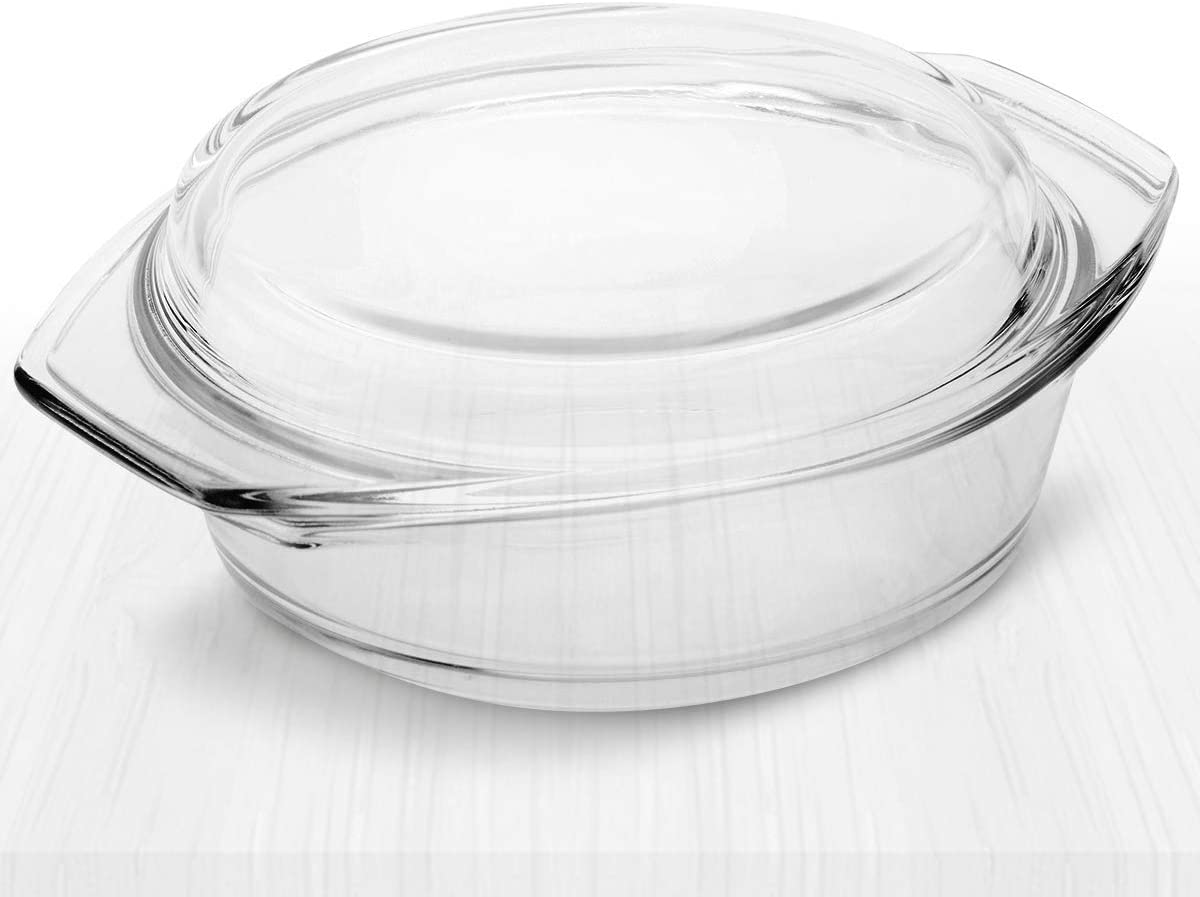 Simax Clear Round Glass Casserole   With Lid, Heat, Cold and Shock Proof, Made in Europe, 3.5 Quart