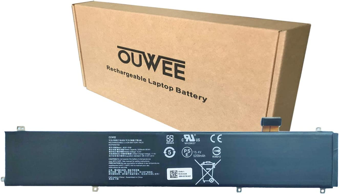 OUWEE RC30-0248 Laptop Battery Compatible with Razer Blade 15 Advanced 2018 2019(i7-8750H) RZ09-02385/02386/02486 RZ09-02886/02887/02888 RZ09-03017/03018 RZ09-03135 RZ09-03137/03138 Series 15.4V 80Wh