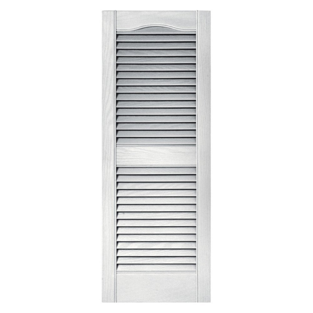 15 in. x 36 in. Louvered Shutters Pair in #117 Bright White by Builders Edge
