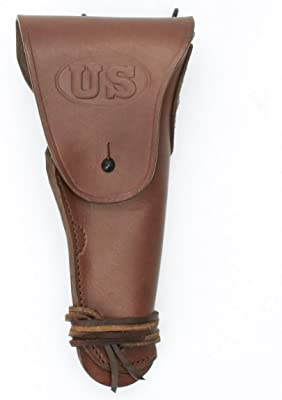 Brown Leather Hip Holster Embossed US