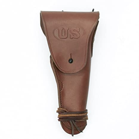 US WWII M1911  45cal Brown Leather Hip Holster Embossed US