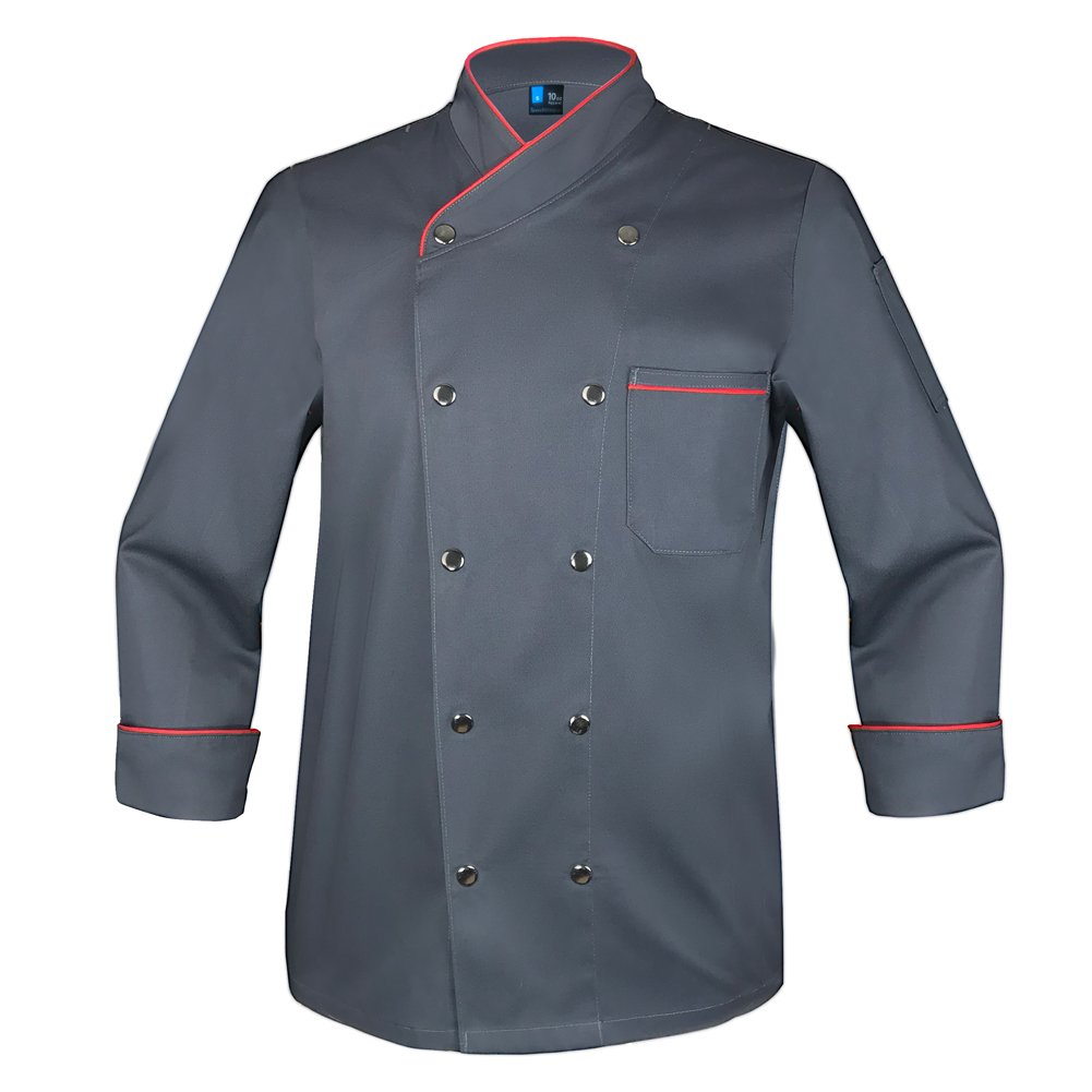 10oz apparel Twill Snap Front Chef Coat Long Sleeve Charcoal/Red L